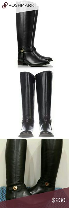 Tory Burch Black Leather Bristol Riding Boots Backstory: I am in love with these boots but they're too big. I couldn't find my size anywhere so bought these on Mon. 12/26 at Nordstrom Rack. Wore once and they don't take returns on worn shoes.  Black leather knee high riding boot. Light gold tone tory emblem on each outside ankle. As far as calf size, I'm a size 12-14 in clothes and these zipped fine for me. These boots were $450 originally, now selling at Nordstrom Rack for $279.97. Price…