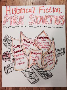 "Historical fiction ""fire starters""- anchor chart"