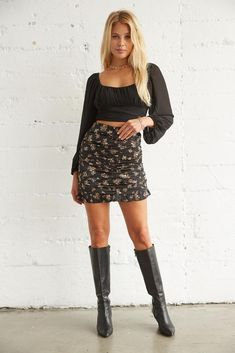 Trendy Online Boutiques, Online Clothing Boutiques, Cute Skirts, Mini Skirts, Ruffle Skirt, Ruffle Trim, American Threads, Floral Mini Skirt, Night Looks
