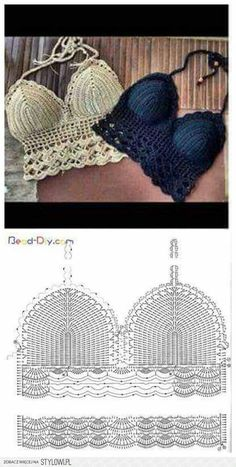 32 amazing image of crochet bra pattern Pictures of crop top crochet pattern view in gallery granny crop with ribbon RUHPYSD Popular crop top crochet pattern häkel bikini. top crochet passo a passo - Bu tops a crochet paso a paso ile ilgili görsel sonuc Tops Tejidos A Crochet, Débardeurs Au Crochet, Mode Crochet, Crochet Halter Tops, Crochet Woman, Crochet Crafts, Double Crochet, Crochet Projects, Crochet Stitches