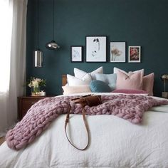 This it it!!! My bedroom update with a blue feature wall #bedroom #featurewall #dulux #designstone #anglersdream #blue #blush #rose #brass #marble #interiordesign #interiordecorating #interiorstyling #interiorstylist #decor #bedroominspo #luxe #cushions #thowblanket #chunkyknitthrow #mystyle #homedesign #interior4all #designerslife #roomreveal