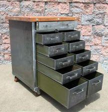 Vintage Industrial Chic Machine Age Butcher Block KITCHEN ISLAND Table Cabinet