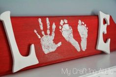 "2016 Valentine's day ""love"" red wood blocks sign with white paint letters - Valentine's Day table crafts - LoveItSoMuch.com"