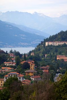 Town of Bellagio, mountains & Lake Como in Italy