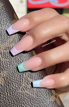 French Tip Acrylic Nails, Long Square Acrylic Nails, Blue Acrylic Nails, Acrylic Nails Coffin Short, Pastel Nails, Long French Tip Nails, Pink Tip Nails, Summer French Nails, Blue French Tips