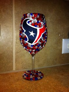 Houston TEXANS Bling Wine Glass. Would be better with black and gold!