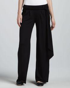 Three Dots Three-Quarter-Sleeve Boxy Top & Waist-Tie Pleated Pants - Neiman Marcus