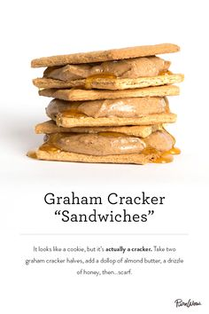 Graham Cracker Sandwiches made with almond butter and honey. Delicious. Snack or dessert? You decide.