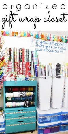 GIFT WRAP STORAGE! Take advantage of that under-utilized space in your guest room closet to organize all of your gift wrap supplies - from wrapping paper and gift bags, to ribbon and gift tags, and even greeting cards and stationery...tips to organize it all!