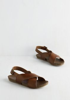 Cartwheel Have a Ball Sandal in Hickory. Its all fun and games in these brown sandals by Blowfish! #brown #modcloth