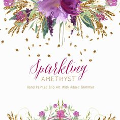 Clipart Hand Painted Watercolour with Glitter  -  Sparkling Amethyst