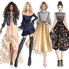 Holly nichols hnillustration 59 ideas for fashion ilustration drawing artworks fashion drawing Dress Design Sketches, Fashion Design Sketchbook, Fashion Design Drawings, Fashion Sketches, Art Sketchbook, Foto Fashion, Art Deco Fashion, Fashion Models, Fashion Collage
