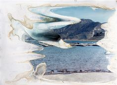 Matthew Brandt first photographs a body of water, and then soaks the C-prints in its water, allowing the actual entity to influence the image produced of itself.