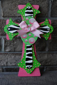 Items similar to Hand Painted Lime Green and Pink Zebra Cross on Etsy Creative Arts And Crafts, Arts And Crafts Projects, Clay Projects, Diy Projects To Try, Diy Crafts, Hand Painted Crosses, Wooden Crosses, Cross Door Hangers, Mosaic Crosses