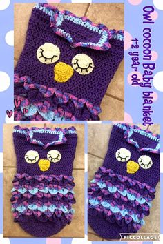 Owl cocoon blanket for 1 year old so fun to stay warm and to snap a few photos Owl Blanket, Baby Owls, 1 Year Olds, Stay Warm, Little Babies, Blankets, Mermaid, Crochet Hats, Comfy