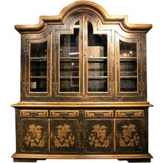 Regal Black Gilded Curio Cabinet (19,690 CAD) ❤ liked on Polyvore featuring home, furniture, storage & shelves, display units, cabinets, wood curio cabinet, black furniture, wood furniture, home storage furniture and curio furniture