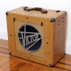 Antique Vintage Tweed Victor Speaker Cabinet