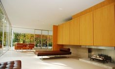 Farnsworth House, a landmark in modernist architecture designed by Ludwig Mies van der Rohe and built in 1951 on 58 acres southwest of Chicago.
