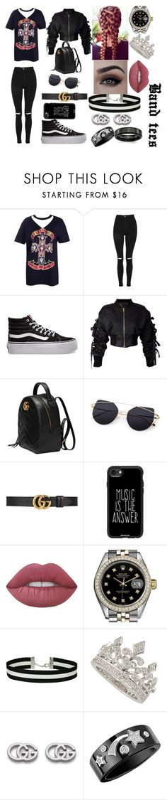 """""""ROSES"""" by mxlyon on Polyvore featuring Boohoo, Topshop, Vans, storets, Gucci, Casetify, Lime Crime, Rolex, Miss Selfridge and Garrard"""