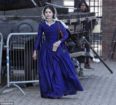 In costume: The ex-Emmerdale star looked perfectly at home as she walked about the set in ...