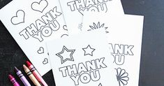 Free Printable Thank You Cards for Kids to Color & Send Best Book Club Reads for Our Online Book Club Picks Card Templates Printable, Thank You Card Template, Free Printables, Printable Labels, Thank You Cards From Kids, Kids Cards, To Color, Color Card, Printable Thank You Notes