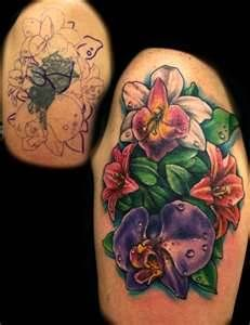 Flower Tattoo Cover Up By Jackie Rabbit Jackierabbit12 On