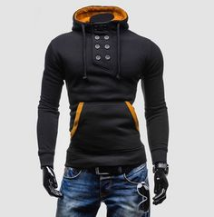 Rebelsmarket double breasted turn down collar fleece mens hoodies sweatshirts hoodies and sweatshirts 2 Colorful Hoodies, Cool Hoodies, Hoodie Sweatshirts, Plus Size Hoodies, Funny Fashion, Winter Hoodies, Longsleeve, Mode Online, Look Cool
