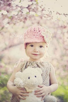 Little Girls Hats,  Crochet Girls Hat, Newsboy Hat for Toddlers, Children Clothing, Pink, Ivory, Cotton, 12 to 24 Months. $30.00, via Etsy.