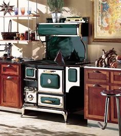 Add warmth and comfort to your home with the Wood cook stove from Heartland. The wood burning cook stove is designed to heat your home, [. Wood Burning Cook Stove, Wood Stove Cooking, Kitchen Stove, Old Kitchen, Kitchen Decor, Primitive Kitchen, Kitchen Designs, Kitchen Interior, Kitchen Ideas