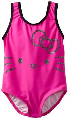 Girls HELLO KITTY Swimsuit One Piece CAT Swimming Costume Pink Ages 4 5 6 7 BNWT