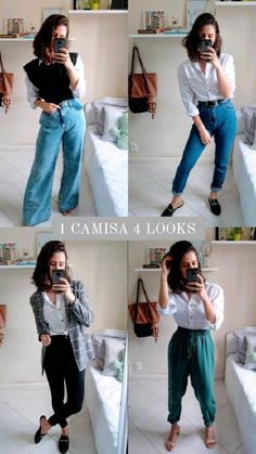 Look Fashion, Trendy Fashion, Girl Fashion, Fashion Outfits, Basic Outfits, Cool Outfits, Casual Outfits, Jeans Outfit For Work, Outfits With Jeans