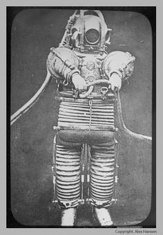 This may not be the first scuba suit. But, it is the first one that was actually useful in any way whatsoever this suit was made some german company named Messr S. and could go down to at least 200ft under water (since that's how long the line was.) By the way, as a bonus it also only killed a quarter of the people who used it.