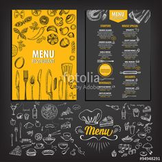 Find Cafe Menu Restaurant Brochure Food Design stock images in HD and millions of other royalty-free stock photos, illustrations and vectors in the Shutterstock collection. Menu Restaurant, Restaurant Brochure, Wings Restaurant, Restaurant Recipes, Restaurant Design, Menu Café, Menu Book, Cafeteria Menu, Menu Illustration