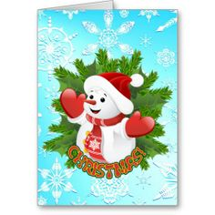 #Cute #Snowman and #Crystal #Snowflakes #Christmas #Card - by BluedarkArt on #Zazzle  -  $2.60  -   ☆SOLD on #Zazzle!☆  Many Thanks to the Customer! (ツ) http://www.zazzle.com/cute_snowman_and_crystal_snowflakes_christmas_card-137530264428943850