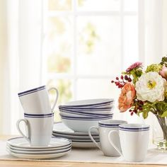 Wayfair Basics 16 Piece Striped Porcelain Dinnerware Set, Service for 4 by Wayfair Basics™ Plastic Dinnerware Sets, Stoneware Dinnerware Sets, Square Dinnerware Set, Porcelain Dinnerware, Blue Dinnerware, Food Safety And Sanitation, Classic Dinnerware, Outdoor Food, Traditional Furniture