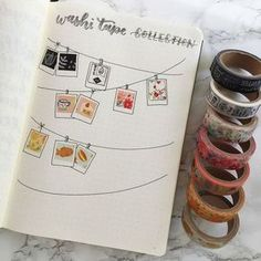 sticker idea for bullet journal with washi tape, ideas for layouts, so super cute!