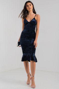 AKIRA Red Label Thin Strap V Neck Frill Hem Velvet Bodycon Midi Dress in Navy