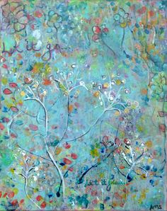 """For Sale or Prints for Sale 21"""" X 17""""  Layered Acrylic Painting on canvas/ framed in wood   by Lisa Doffing """"In The Breeze/ Let It Go""""  Spring 2013"""