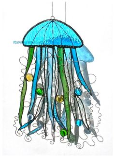 Stained Glass JELLYFISH Suncatcher  by stainedglasswhimsy on Etsy, $54.00