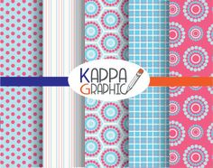 "Digital pattern ""Blue e Pink"" di KappaGraphic su Etsy"