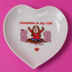 """""""Chocolate is my life"""" heart-shaped plate, featuring Cathy Charity Shop, American Greetings, Thrift Store Finds, Yard Sale, Cutlery, Circles, Thrifting, Bowls, My Life"""
