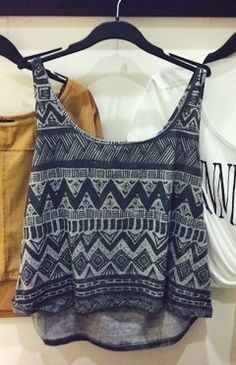 Dark gray tribal tank. I actually really want this.
