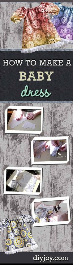 Easy Sewing Project for Baby - Good sewing idea for beginners and a cute homemade baby gift idea. DIY Projects & Crafts by DIY JOY at http://diyjoy.com/sewing-for-baby-free-dress-pattern-and-video-tutorial