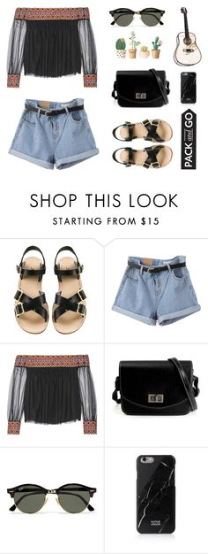 """""""#0002"""" by thelittleclara ❤ liked on Polyvore featuring A.P.C., Alice + Olivia, Ray-Ban, Native Union, vintage, Spring, contest and Packandgo"""