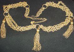 Vintage 1960's metal chain link belt