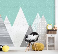 Kids Mountains oversized wall art peel & stick wallpaper printed onto adhesive backed fabric that can be removed, repositioned and reused over and over again. Kids Mountains Wallpaper, Mountain Wallpaper, Fabric Wallpaper, Peel and Stick Wallpaper Wall Art Wallpaper, Fabric Wallpaper, Peel And Stick Wallpaper, Accent Wallpaper, Design Living Room, Kids Room Design, Mountain Mural, Oversized Wall Art, Mountain Wallpaper