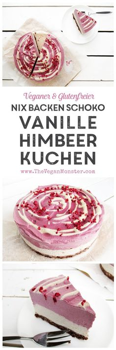 Vegan Glutenfrei Nix Backen Rohköstlicher Schokoladen Vanille Himbeer Kuchen Torte Rezept. Entdeckt von Vegalife Rocks: www.vegaliferocks.de ✨ I Fleischlos glücklich, fit & Gesund✨ I Follow me for more vegan inspiration @vegaliferocks