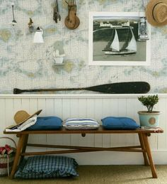 #nautical - love this easy look with chart wallpaper!