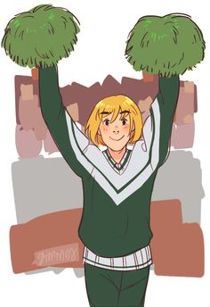 high school AU with cheerleader Armin and football player Eren. Armin cheers at his boyfriend's games and Eren goes to Armin's cheerleader competitions. Eren gives Armin his letterman jacket when they decide to go steady.