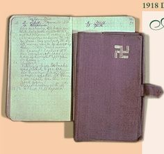 Tzarina Alexandra's last diary. The final entry, July 17, 1918. Alexandra wrote in English. Her close relationship with her grandmother, Queen Victoria, resulted in her preference for English. The diary was a gift from Alexandra's daughter, Tatiana. The swastika is an ancient symbol of eternity and good fortune. The cover is hand sewn in Alexi' s favorite color, mauve.
